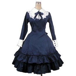5db4850152 Chinese Halloween Gothic Lolita Party Dresses Autumn Long Sleeve Slim  knee-Length Bow Tie Cosplay