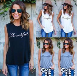 Wholesale vest tops ladies - Women Cotton Sleeveless Vest Tank Tops Ladies Thankful Printed Tee Shirts Blouse Letter Printed Crop Tops OOA4547