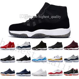Wholesale Green Suede Boots Women - With box 11 High top mens basketball shoes Midnight Navy Gym Red Patent leather + Nylon 11s women Outdoor athletic basket boots size 36-47