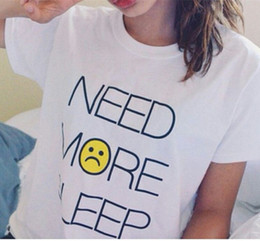 Wholesale wholesale long sleeping shirts - 2015 Summer Style Hot Sell Women Crop Need more Sleep White T shirt With Casual Print