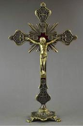 kupfer steht Rabatt Altes Kupfer, das Jesus auf Kreuzstand für Erlösungs-spezielle große Statue schnitzt