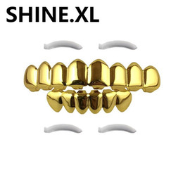 Wholesale Gold Teeth Styles - 18k Gold Plated Hip Hop Teeth Grillz 8 top and 6 Bottom Custom Fit Rock Style Grills Set Body Jewelry
