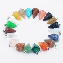 Colar feito de pedra on-line-Moda Pedra Natural Pyramis Forma Pingentes Encantos Cornalina Onyx Vermelho Para Colar de Jóias Fazendo