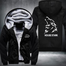 Wholesale House Hoodies - HOUSE Stark wolf Game Thrones Zipper Fleece Winter Hoodies Men Tracksuit USA size
