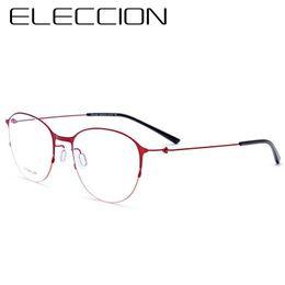 c6ed47c3e4 ELECCION Titanium Round Glasses Titanium Frame Optical Gafas graduadas para  mujeres Moda Myopia Anteojos Marcos Hombres Ofertas de vidrios de la manera  para ...