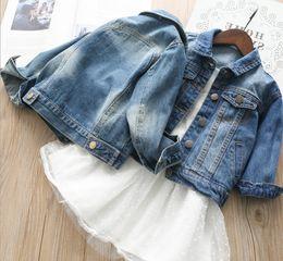 Wholesale jacket jeans kids boy - Autumn boys kids jeans jacket 2018 new girls lapel long sleeve denim tops children double pocket single breasted cowboy casual outwear Y9063