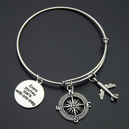 Wholesale american earth - Hand Stamped Journey Bangle Plane Globe Earth Compass Camera Passport Charms Adjustable Expandable Wire Bracelets Bangle