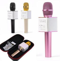 microfones de bobina móvel Desconto Q7 Handheld Microfone Sem Fio Bluetooth KTV Mágica Com Speaker Mic Handheld Altifalante Portátil Karaoke Player Para Smartphone