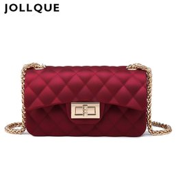 Wholesale Mini Women Gifts - Wholesale- Jollque 6 Colors Mini Jelly Bag Metal Chain Belt Party Famous Brand Shoulder Message Bags Small PVC Quilted Handbag Gift Child