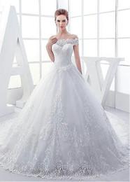 2018 vestidos de novia de encaje precioso Sheer Off The Shoulder Sweep Train Sleeves Appliques árabe Dubai vestidos de boda por encargo desde fabricantes