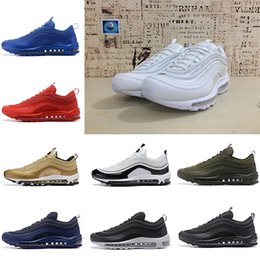 newest eeedb 05891 Nike Air Max 97 Running shoes zapatos ultra Running Shoes Silver Bullet Oro  blanco 97s Hombres mujeres Casual Maxes Trainers Diseñador Sports Sneakers  sin ...