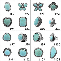 Wholesale silver costume jewelry sets - 152 styles Turquoise Rings Punk Style Green Natural Stone Rings Fashion Costume Gemstone Women Men Ring Jewelry
