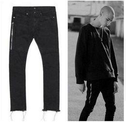Wholesale Mens Black Classic Straight Jeans - New Mens Classic Straight Slim Fit Jeans fashion Side zipper pants foot Plush side 424 jeanshigh quality Washed jeans hip hop mens jeans