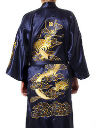 Wholesale Traditional Chinese Shirts Men - Navy Blue Chinese Men Silk Satin Robe Novelty Traditional Embroidery Dragon Kimono Yukata Bath Gown Size S M L XL XXL MR002