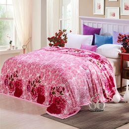 Wholesale Bedsheets Queen Size - Svetanya pink Rose wedding Blanket double face winter bedsheets sofa Throws twin full queen king size bedspread