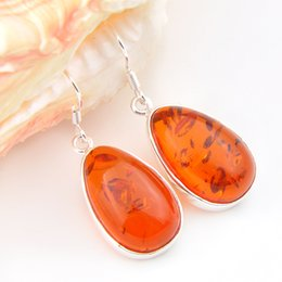 Wholesale Earrings Antique - 5pcs 1lot Christmas Jewelry Gift--Lucky Stone Antique Amber 925 Silver Drop Earrings E0047