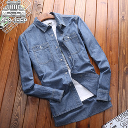 6d1a74628b2 Brand AFS Size 5XL Plus Size Men Shirts New 2017 Denim Jeans Shirt Autumn  Long Sleeve Classic British Style Design