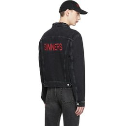 Wholesale Western Coats Jackets - 18SS BLCG SINNERS Cowboy Denim Black Jacket Men Women Fashion Coats Western Cowboy Jacket Hip Hop HFLSJK040