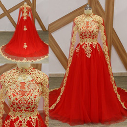 Wholesale cape robe - Elegant Red High Neck Arabic Long Prom Dresses With Cape Middle East Appliques Beaded Formal Prom Gowns Robe De Bal Evening Dresses
