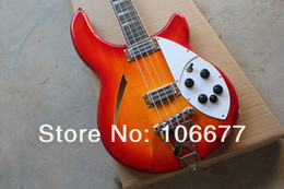 Wholesale Semi Hollow Guitar Tremolo - Free shipping Top Quality Rick Semi-Hollow Ricken Cherry Red Burst 2 Pickups R Tremolo 4 Strings Electric Bass Guitar In Stock