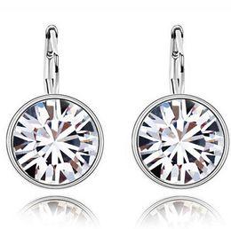 Wholesale element austrian crystal - Earring Diamond Studs Silver Swarovski Elements Round Austrian Crystal Earrings Stud fashion jewelry wedding gifts for women