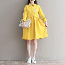 Wholesale Vintage Cute Dress Style - Autumn Spring Vintage dress for women Lapel Neck Cute style dress Yellow and Navy Blue color Size M-2XL