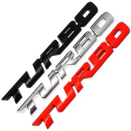 Wholesale Ford Focus Stickers - 3D Metal TURBO Emblem Car Styling Sticker Body Rear Tailgate Badge For Ford Focus 2 3 ST RS Fiesta Mondeo Tuga Ecosport Fusion