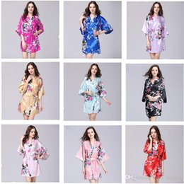 178968f898 Silk Satin Wedding Bride Bridesmaid Robe Flower Bath Short Kimono Long  Night Bathrobe Bath Fashion Lady