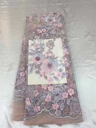 Wholesale Cotton Fabric Yard Flowered - pink high end lace fabric 3d flowers french lace fabric with applique 5 yards tulle mesh lace fabric