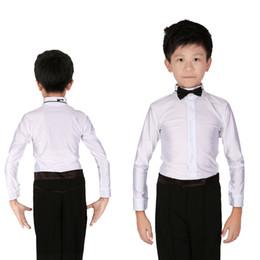 414a5202ea Boys Bowknot Collar Ballroom Latin Dance Shirt White Dance Tops Leotard  Performance Wear For Boys