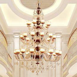 2019 abat-jour pendentif rouge Plafonnier lustre doré pour lampe suspendue Hall Lustres en cristal rouge Lustre en verre à abat-jour sur les luminaires Escaliers escalier suspensions abat-jour pendentif rouge pas cher