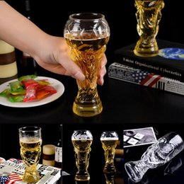 Wholesale champagne glasses flutes - Football World Cup Soccer Beer Stein Whiskey Vodka Bar Beer Glass Mug Crystal Whiskey Wine Glasses 60pcs OOA5088