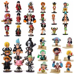 Wholesale Cute Mini Anime Figures Set - Anime One Piece PVC Action Figures Cute Mini Figure Toys Dolls Model Collection Toy Brinquedos 9 Piece Set Free Shipping