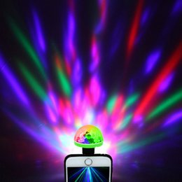 Wholesale Banks Autos - USB Laser Light Mini RGB LED Disco Ball Shape Stage Lighting Effect Club DJ Light Mobile Phone PC Power Bank