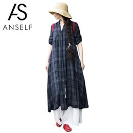 f76f32b0f44 Anself Plus Size Women Clothing Fashion Plaid Long Shirt Stand Collar Short  Sleeve Button Casual Vintage Oversize Top Shirtdress