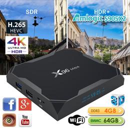 Wifi ac онлайн-Андроид 8.1 ТВ коробка X96 максимум 4 ГБ 64 ГБ четырехъядерный встроенный S905X2 ТВ коробка поддержка 2.4 г 5.8 г двухдиапазонный беспроводной сети переменного тока ВТ4.0 порта USB3.0 Netflix И Хулу Шоубокс