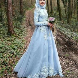robe de soirée hijab Promotion Saoudien Arabe Col Haut Une Ligne Robes De Soirée 2019 avec Appliques Manches Longues Hijab Kaftan Dubai Prom Robes BC0328
