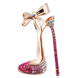 Wholesale Nickel Gold Plating - New Arrival High-Heeled high heel Shoes Brooches High Quality Fine Jewelry Nickel women wedding and party jewelry