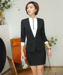 Wholesale Ladies Blazers Designs - Formal Women Business Suits with Skirt and Jacket Sets Ladies Black Blazer Work Wear Office Uniform Designs Styles