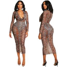 49ebac816df New Casual dresses Long Sleeve Snake print mesh dress maxi Bandage Bodycon  Dress Skinny Party plus size women clothes Sexy Club Wear