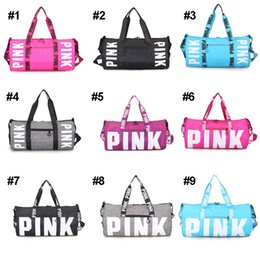 Wholesale Large Duffels For Women Travel - Pink Letter Handbags Travel Duffle Bags Large Capacity Striped Waterproof Outdoor Beach Bag Sport Bags For Women