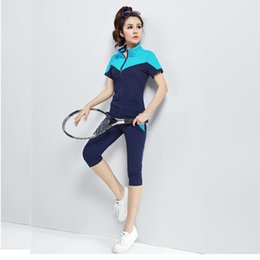 grey suits for women Coupons - 2018 New Clothes For Women sportswear short-sleeved cotton sportswear women's workout set two-piece sport suit women M-3XL