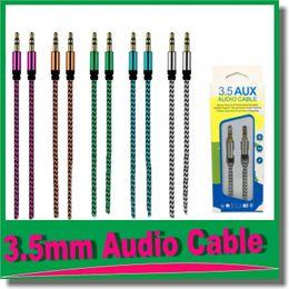 2019 enchufes de banana envío gratis 3.5mm auxiliar AUX cable de extensión de audio Unbroken metal Tela Braiede masculino cable estéreo 1M para Samsung MP3 altavoz Tablet PC OM-R4