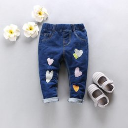 Wholesale Middle Child Clothing - Newborn Baby Girls Pants 2018 New Spring Autumn Korean Casual Lovely Middle Elastic Waist Jeans Clothing Children Trousers
