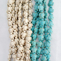 Wholesale tortoise turtle charm - Wholesale Carved Sea Howlite Turtle Bead Stone Charm for Bracelets Jewelry Making 14*18mm White Blue Turquoise Tortoise Stone Beads