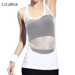 Wholesale Mixing Tanks - White Solid Color Women Yoga Shirt Sleeveless Gym Fitness Hollow Out Female Sports Tank Top Running Sex Ladies Clothes Underwear