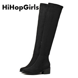 Wholesale flocking packing - HiHopGirls 2017 women Autumn and winter Square High heels boots Square head was thin Knee Pack legs snow Boots woman ship DHL