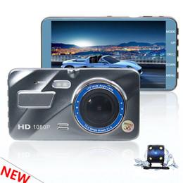 câmera traseira conduzida Desconto 4 polegada 1080 P full HD DVR carro gravador de condução do veículo camcorder traço câmera 2Ch frente 170 ° traseira 120 ° G-sensor WDR monitor de estacionamento