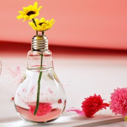 vaso de cristal de la flor Rebajas 6 unids Transparente Bombilla de Cristal Jarrón de Cristal de Escritorio Jarrón de Flores Hidropónico Wedding Home Decor