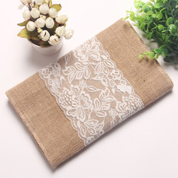 Wholesale rustic tablecloths - 30*270cm Vintage Burlap Table Runner for Wedding Decoration Rustic Wedding Decor Jute Lace Wedding Tablecloth Party Decoration